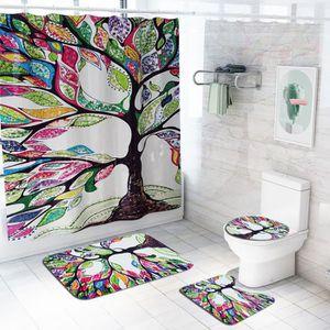 Halloween Imperméable Polyester sang main Rideau de douche ensemble salle de bain Tapis Crochets