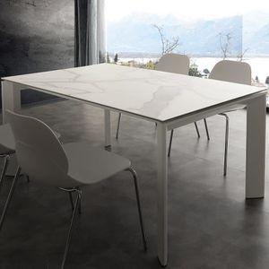 TABLE À MANGER SEULE Table extensible en céramique effet marbre EVA Bla