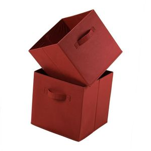 CASIER POUR MEUBLE Lot de 2 cubes de rangement intissé 28 cm Rouge Br