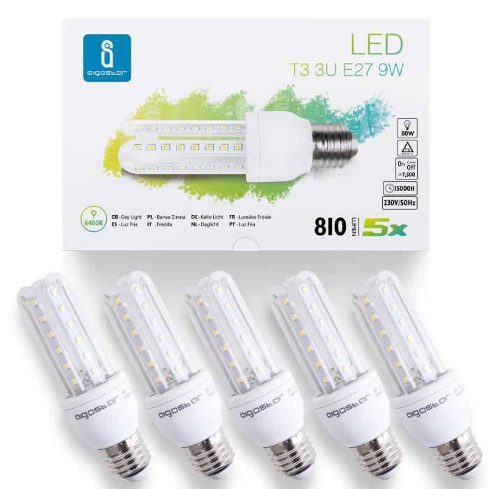 Aigostar - Lot de 5 ampoules LED B5 T3 3U E27 (gros culot), 9W équivalent à 80W. Lumière blanche froide 6400K, 810 lm, angle de 360º