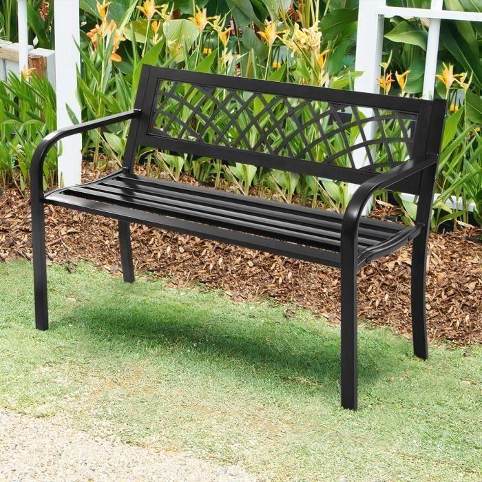 COSTWAY Banc de Jardin 2-3 Places Style Contemporain Banquette de Jardin Extérieure en Acier Fonte Extérieur Noir 116x50x75CM