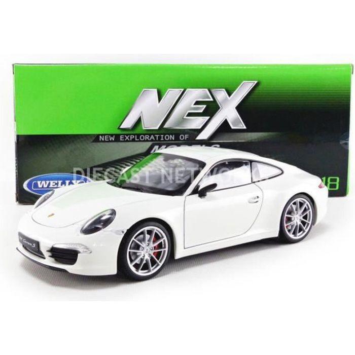 Voiture Miniature de Collection - WELLY 1/18 - PORSCHE 911 / 991 Carrera S - 2012 - Blanc - 18047W