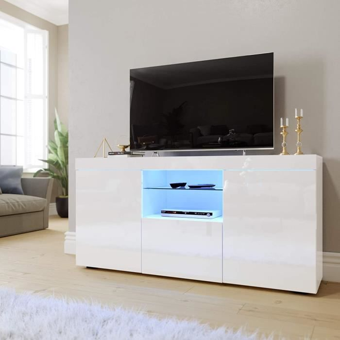 Dripex Meuble TV LED Blanc Brillant Moderne - 135 * 33,5 * 70 cm Avec 2 Grandes Portes 1 Petite Porte 2 Espace de Stockage