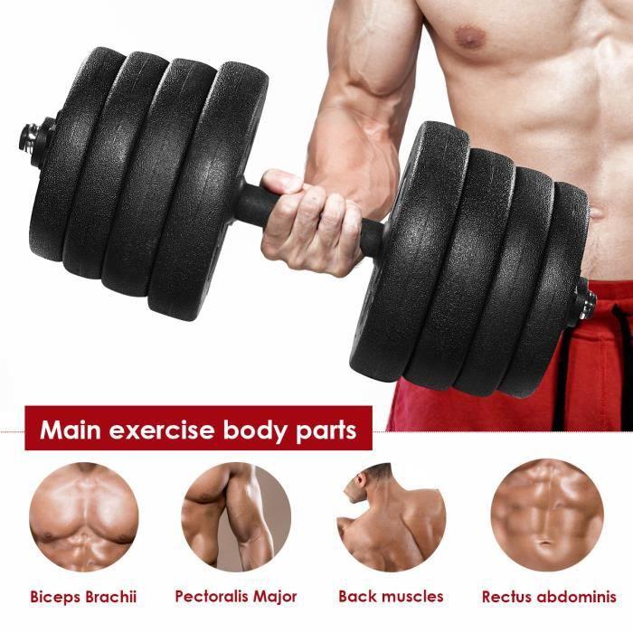 Une Paire de Poids D'haltère de 30 kg Avec 16 Plaques D'haltères Ensemble de Fitness Solide Réglable Ensemble