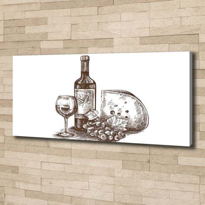 Tulup 125x50 cm art mural - Image sur toile:- Nourriture boissons - Vin Collations - Noir blanc