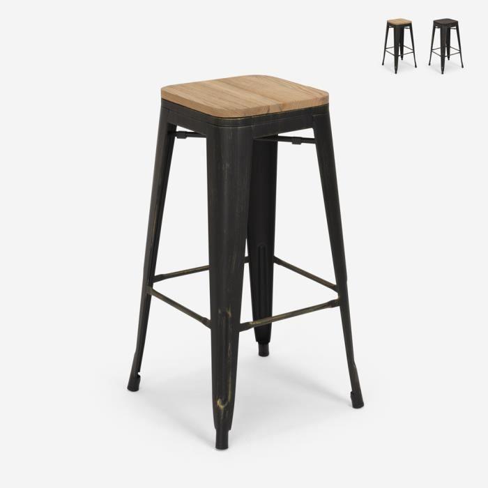 Tabouret Design Métal Bois Style Industriel Tolix Bar Cuisines Brush Up, Couleur: bois neutre