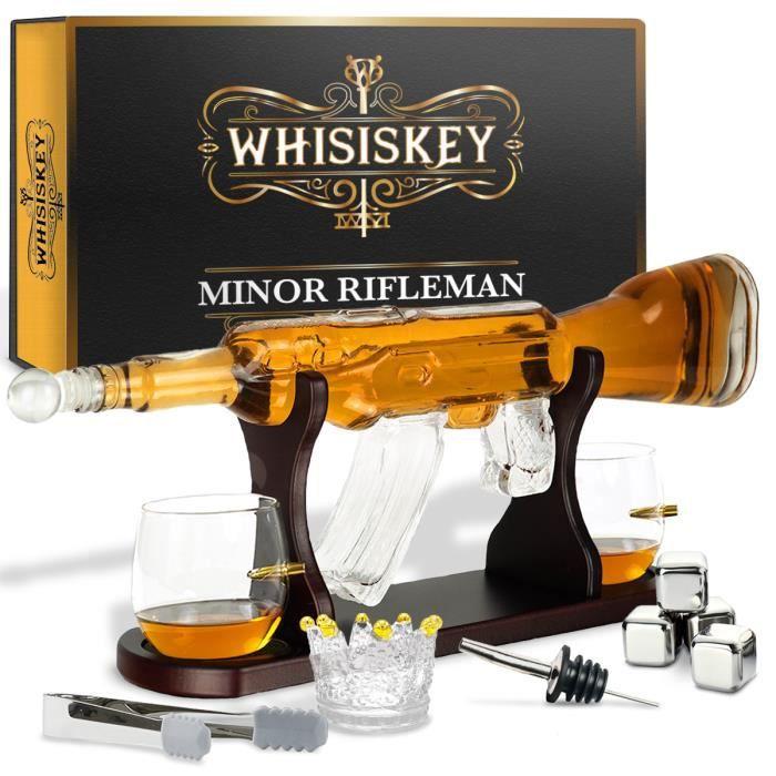 Whisiskey® Carafe Whisky - Pistolet - 1000 ml - 2 Verre à Whisky, 4 Pierre à Whisky et Bec Verseur - Cadeau homme - Carafe decanter