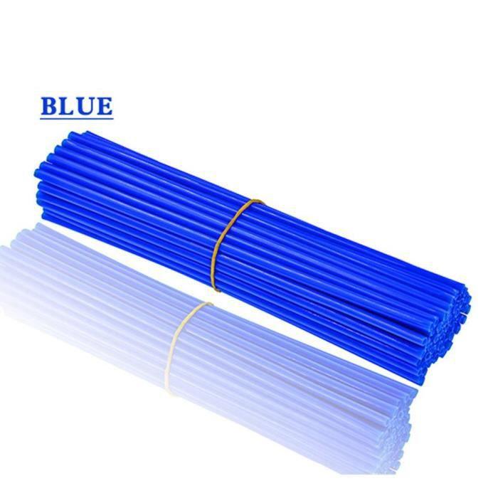 Protege Cadre,72 pièces jante de roue de moto protecteur à rayons enveloppes jantes garniture de peau couvre tuyau pour - Type Bleu