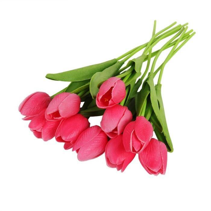 Décoration florale,Fleurs de décoration de pâques,10 pièces,Bouquet de fleurs artificielles,tulipes en latex,fausses - Type GRIS