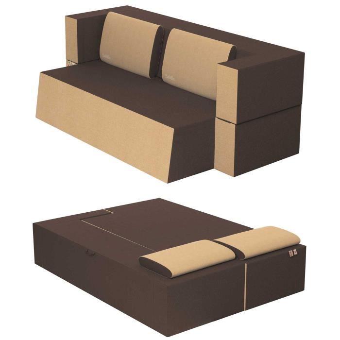 Canapé Lit Praticho Convertible Modulable Réversible 2 places - Tissu dehoussable et lavable Couleur Sépia