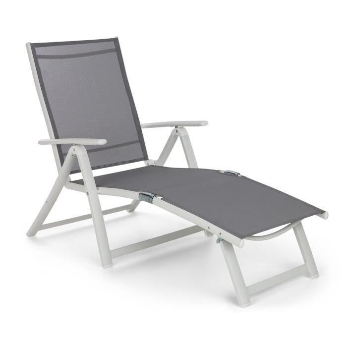 Blumfeldt Pomporto Lounge Chaise longue - Transat bain de soleil réglable 7 positions - toile PVC & cadre aluminium - blanc -gris