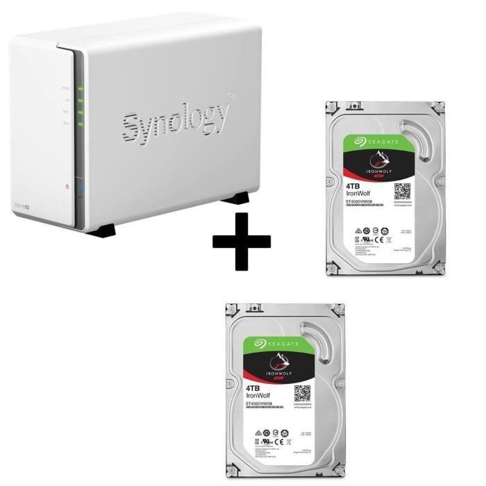 Pack Synology Serveur NAS Diskstation DS216se DS216se + 2 Disques Durs Seagate NAS HDD Iron Wolf 4To 3,5\