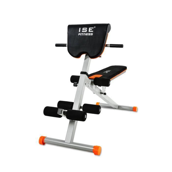 ISE Banc de Musculation Multifonction Réglable,Banc de Poids Pliable avec Angle du Dossier,Charge Max.200KG pour Abdos et Exercices