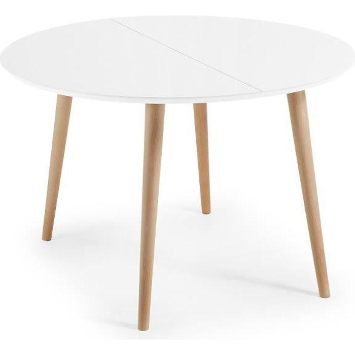 Table Oqui extensible ronde 120-200 cm, naturel et blanc