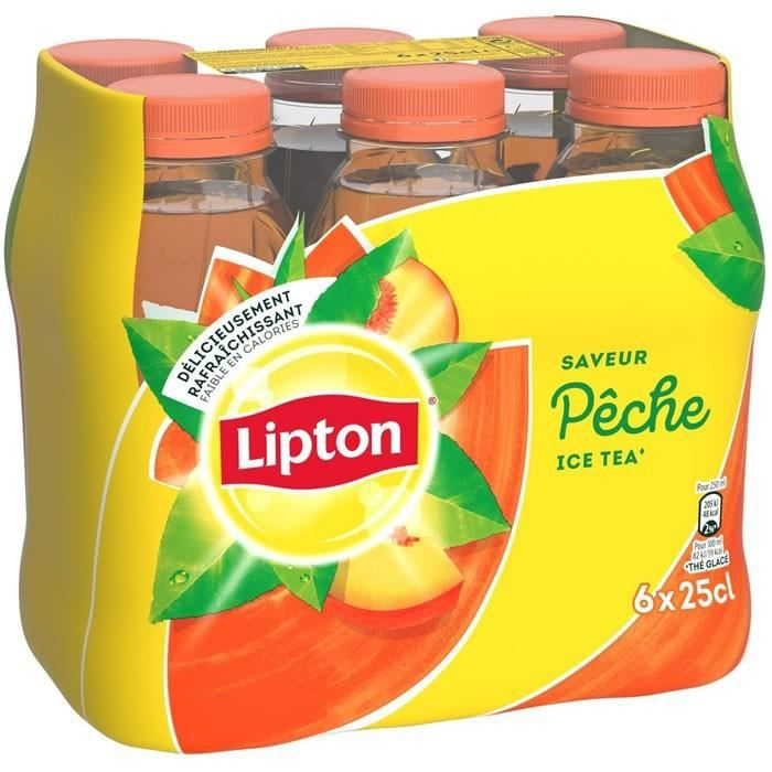 LOT DE 2 - LIPTON Ice Tea - Boisson aux extraits de thé arôme pêche - 6 x 25 cl