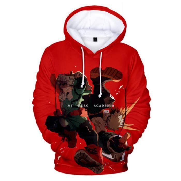 SWEAT-SHIRT Mixte - Sweatshirt à capuche imprimé mode My Hero Academia Adulte - style4 rouge WX™