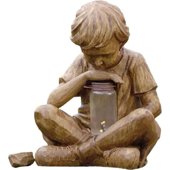 Garçon Statue Jardin Ornement vintage Sculpture artistique Résine Artisanat Décoration pour extérieur Cour Patio