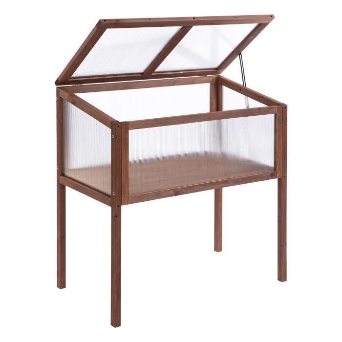Mini serre sur pieds dim. 90L x 50l x 93H cm toit ouvrable panneaux de polycarbonate bois sapin traité 90x50x93cm Marron