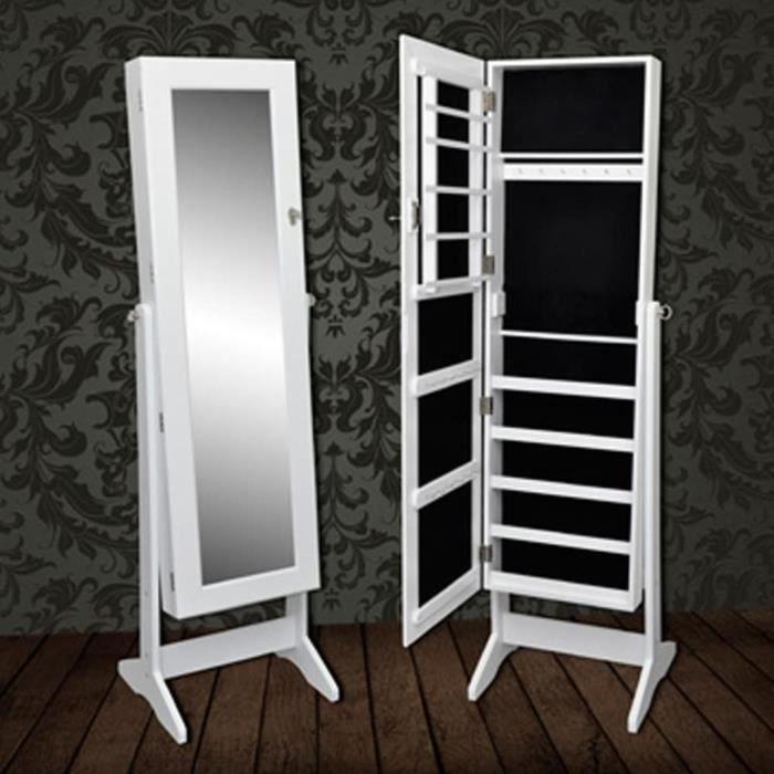 Armoire à bijoux sur pied ranger de porte avec miroir réglable46 x 37 x 146 cm (L x l x H)-blanche