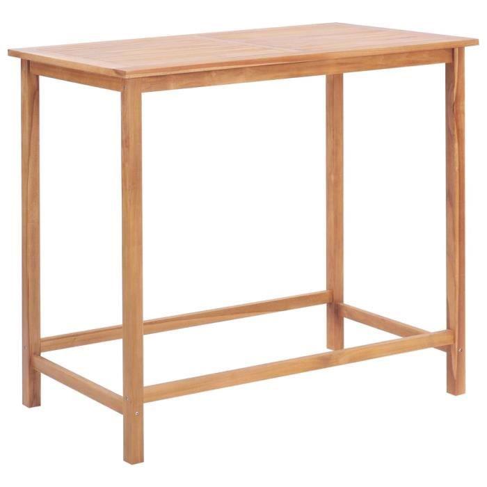 Table de bar style contemporain Mange-Debout d'extérieur 120x65x110 cm Teck solide