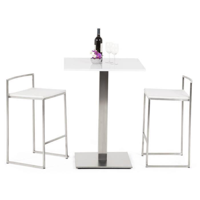 Table carree blanche en bois et metal - L50 x L50 x H90 cm