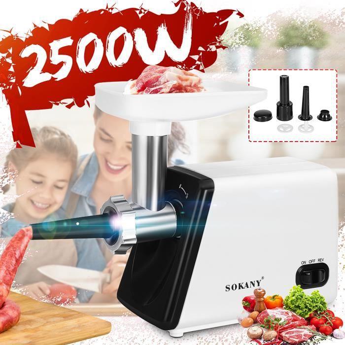 Hachoir à Viande Saucisses Electrique SOKANY 2500W - Tube Acier inoxydable - Broyeur Multifonction Cuisine Maison