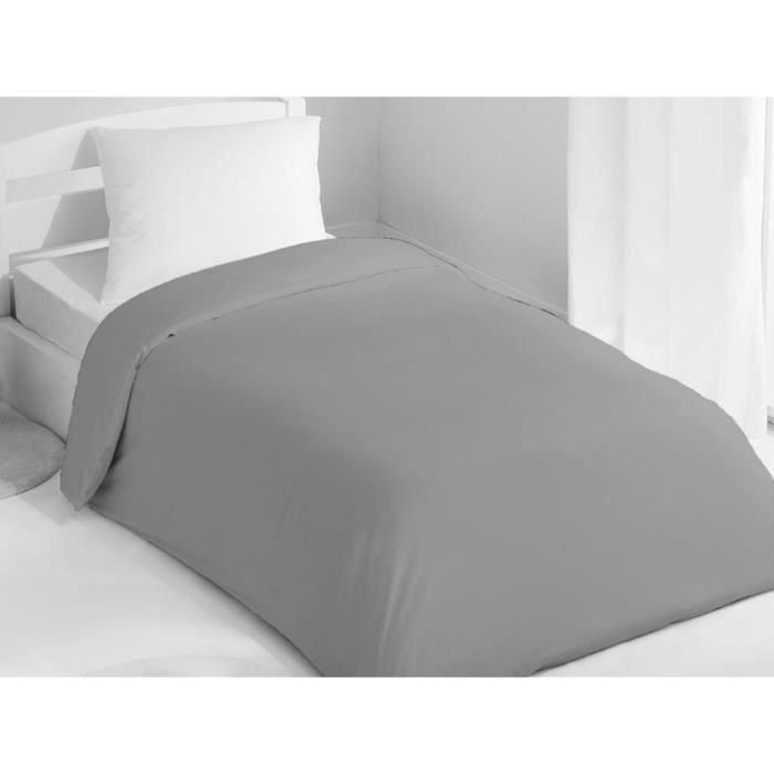 Housse de couette 140x200 cm coton uni gris