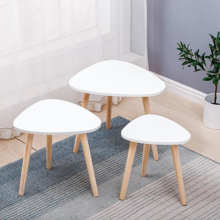 lot de 3 tables basses scandinave gigogne diametre 60cm 50cm 40cm blanc
