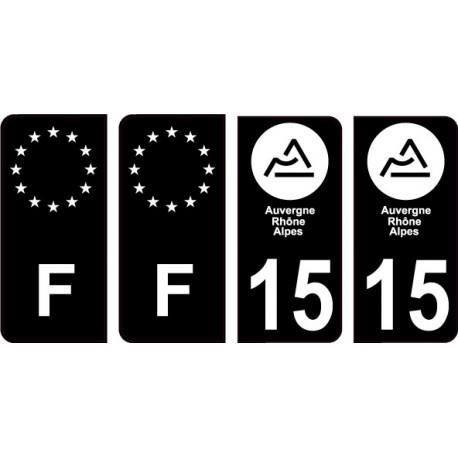 4 Autocollants 2 paires Stickers style Auto Plaque Black Edition noir F 60