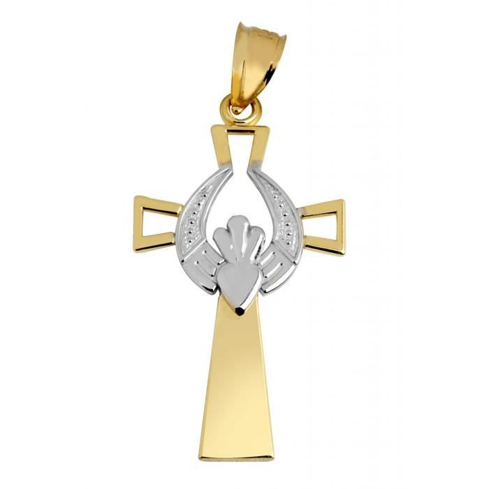Collier Pendentif14 ct Or 585/1000Claddagh Croix AvecOr Blanc