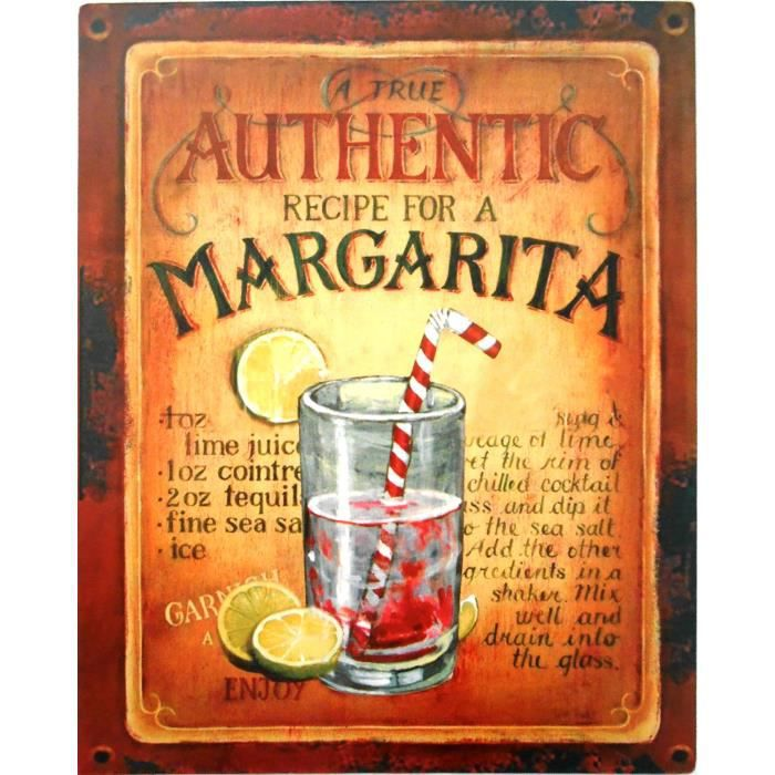 Plaque d corative m tal margarita cocktail 25x20 achat for Plaque murale decorative metal