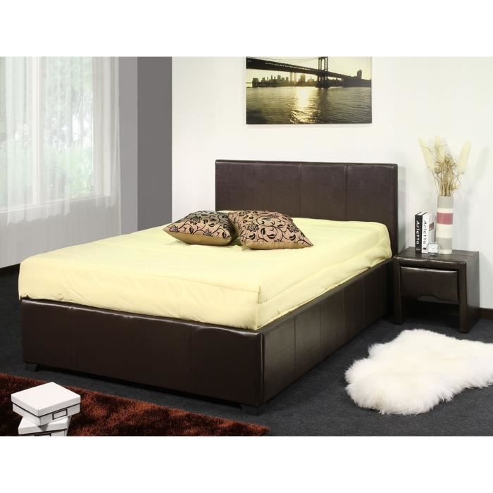 lit coffre howard simili cuir marron sommier 140 achat vente lit evolutif cdiscount. Black Bedroom Furniture Sets. Home Design Ideas