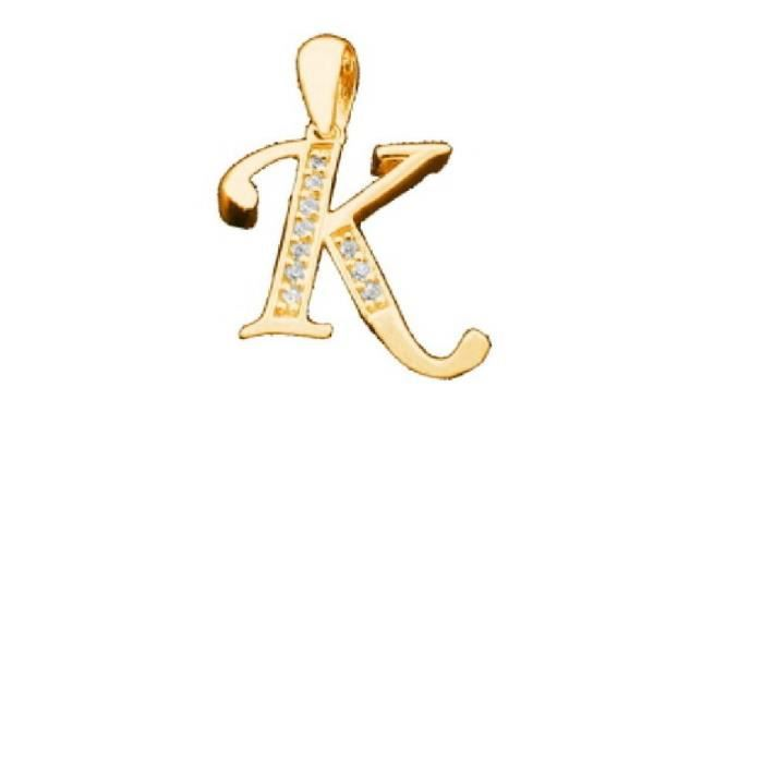 collier pendentif lettre k initial plaque or 750 000 oxydes blanc