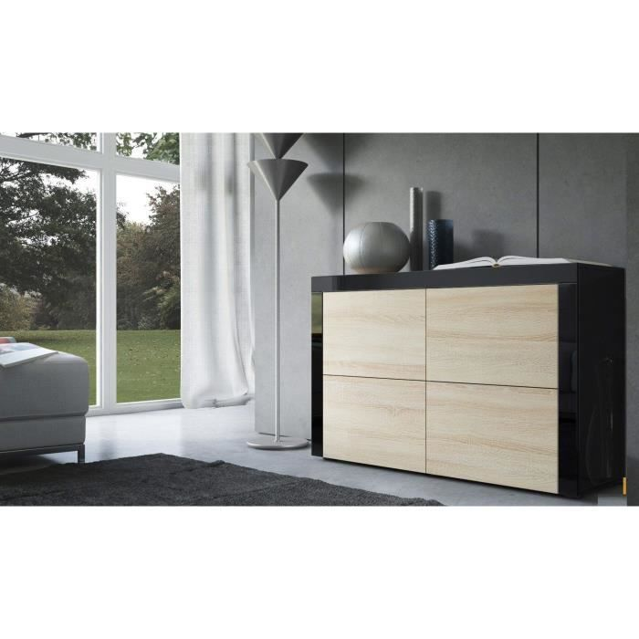 commode noire et bois brut 110cm achat vente commode. Black Bedroom Furniture Sets. Home Design Ideas
