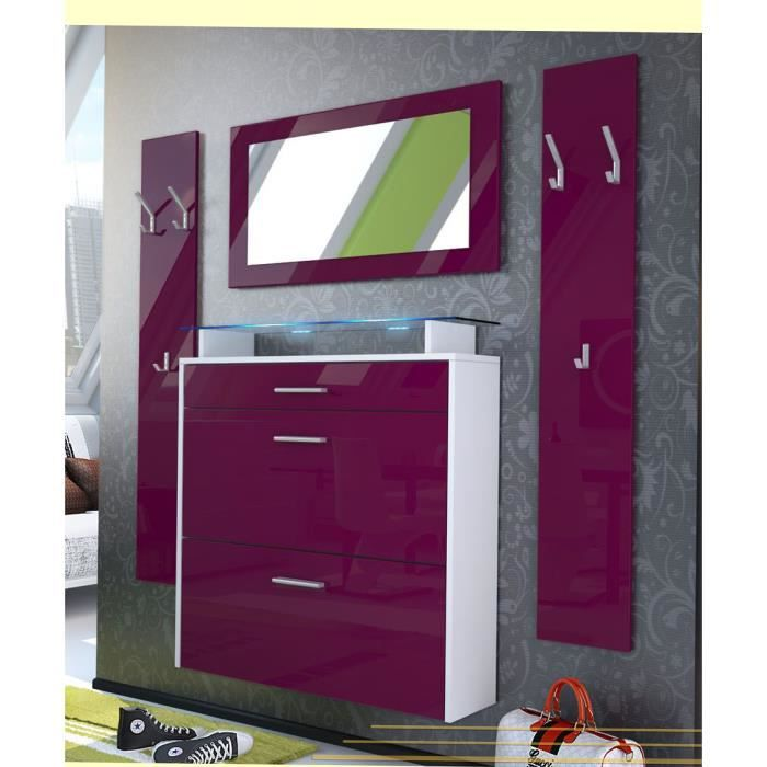 vestiaire blanc et framboise 89 cm achat vente meuble d 39 entr e vestiaire d 39 entr e cdiscount. Black Bedroom Furniture Sets. Home Design Ideas