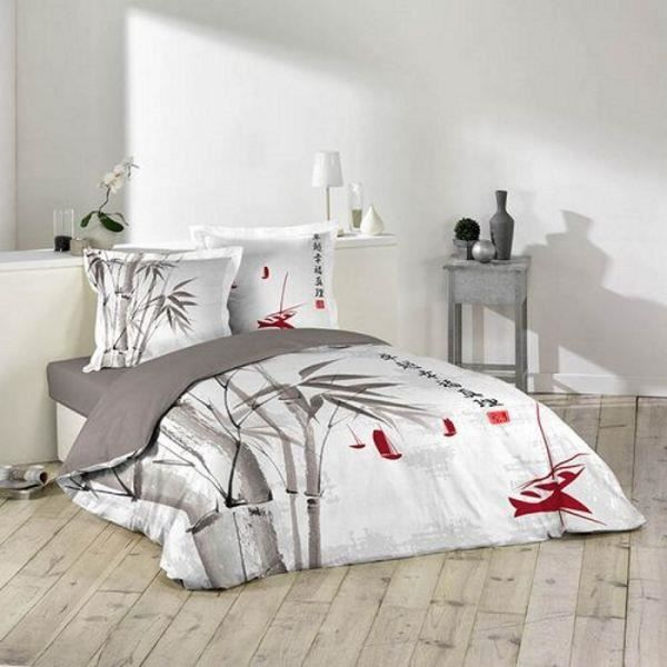 housse de couette 220x240cm 2 taies d 39 oreiller 63x63 sadako dessin place achat vente housse. Black Bedroom Furniture Sets. Home Design Ideas