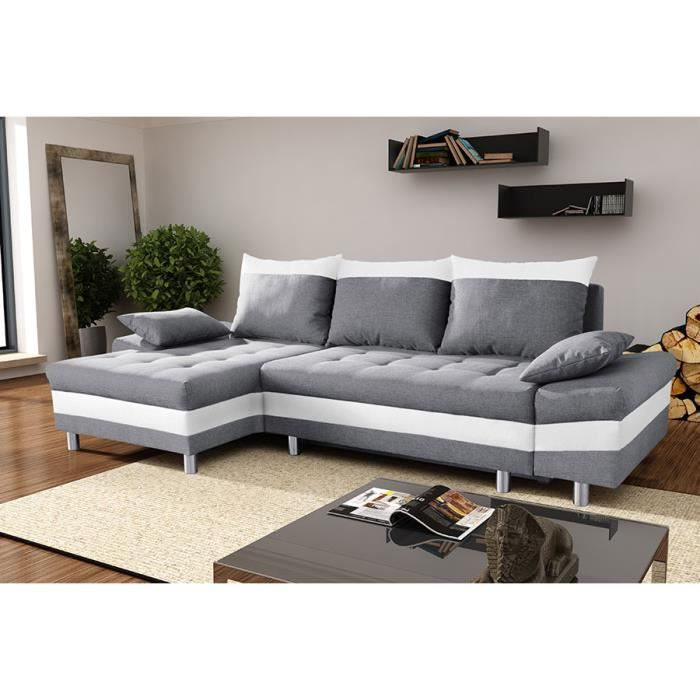canap d 39 angle convertible en tissu gris et pvc blanc avec. Black Bedroom Furniture Sets. Home Design Ideas