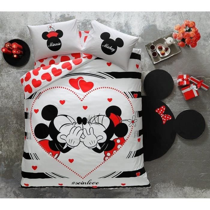 parure de lit disney minnie mickey amour saint valentin 2 personnes 4pc housse de couette. Black Bedroom Furniture Sets. Home Design Ideas