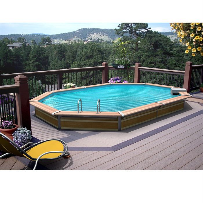 Piscine bois aluwaterclip 530x370x129 optimum achat for Piscine semi enterree bois hexagonale