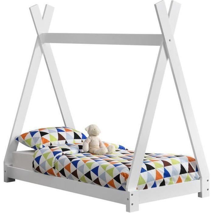 en.casa Lit denfant avec Matela Cadre de Lit 206 x 98 x 142 cm Matela Mousse Froid 90 x 200 cm Maison Bois Blanc Coulour Blanc Mat