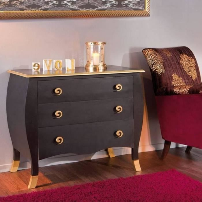 commode baroque rokkoko noire et or 3 tiroirs achat vente commode de chambre commode baroque. Black Bedroom Furniture Sets. Home Design Ideas