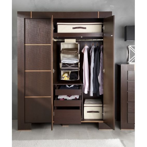 armoire dressing 3 portes moderne achat vente armoire. Black Bedroom Furniture Sets. Home Design Ideas