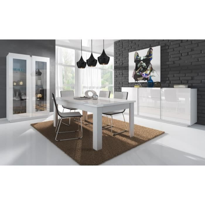salle a manger complete blanc laque achat vente salle. Black Bedroom Furniture Sets. Home Design Ideas