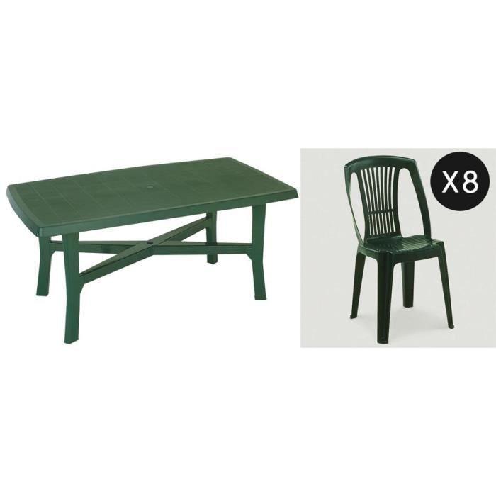 Salon jardin plastique vert pour 8 personnes - Achat / Vente ...