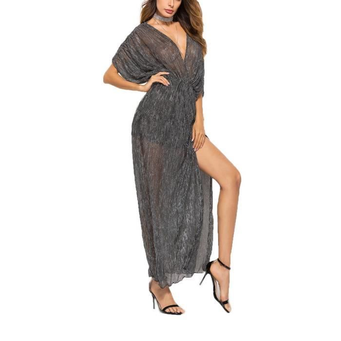 7fcb3b6122f BIGOOD See-through Robe Manche Courte Col V Foncé Polyester Casual pour  Femme