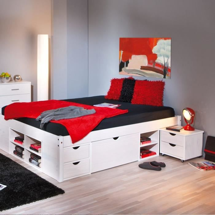 lit avec rangement 140 190 blanc achat vente lit avec. Black Bedroom Furniture Sets. Home Design Ideas