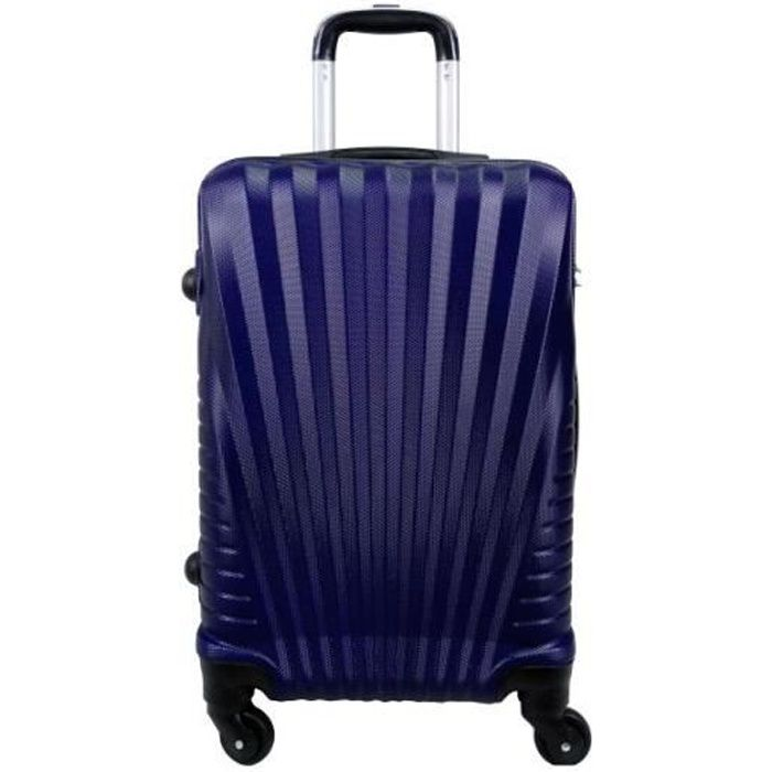 VALISE - BAGAGE Valise cabine 4 roues 55cm rigide Bleu Marine - El
