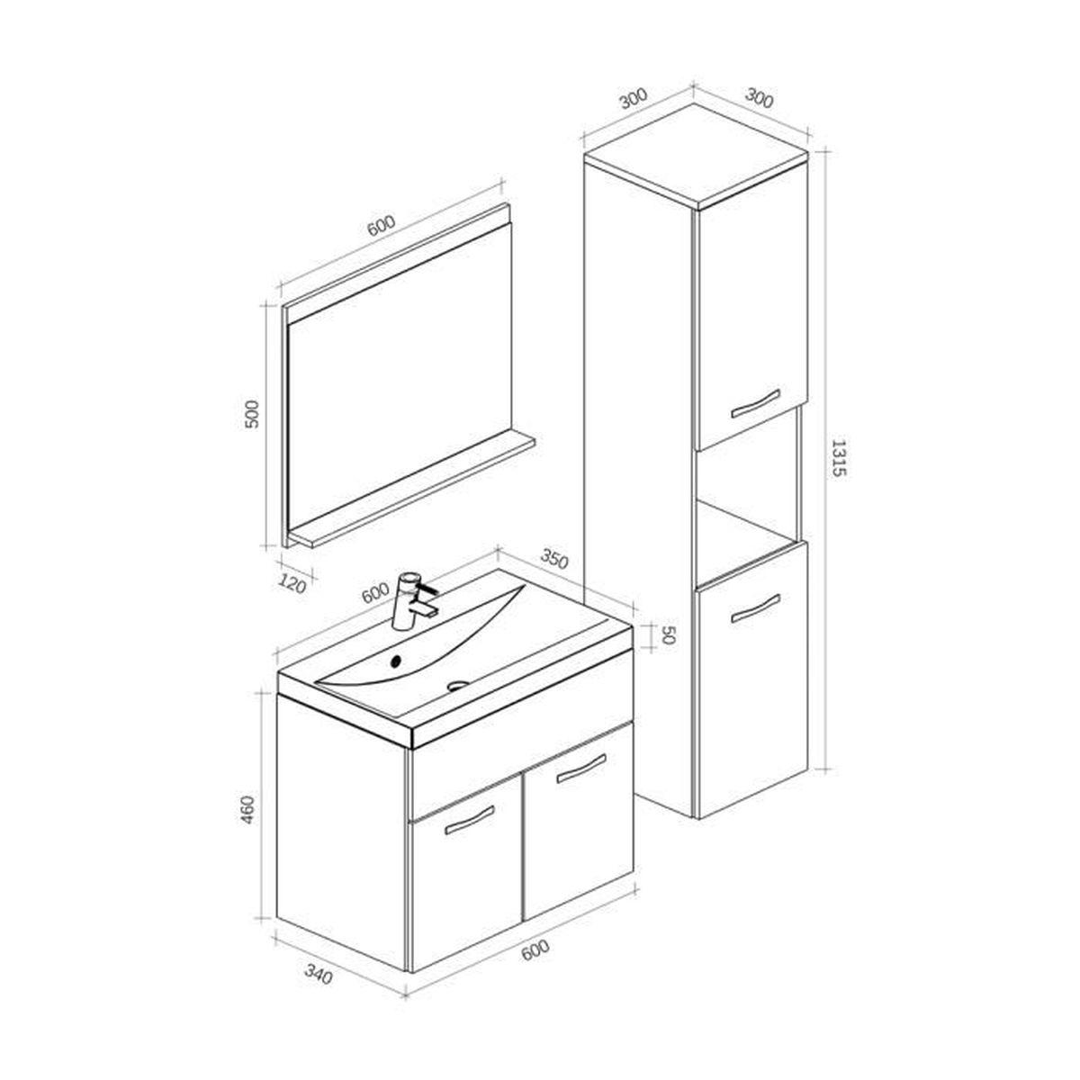 Meuble de salle de bain Montréal 60 cm lavabo Bodega - Armoire de rangement  Meuble lavabo évier Meubles