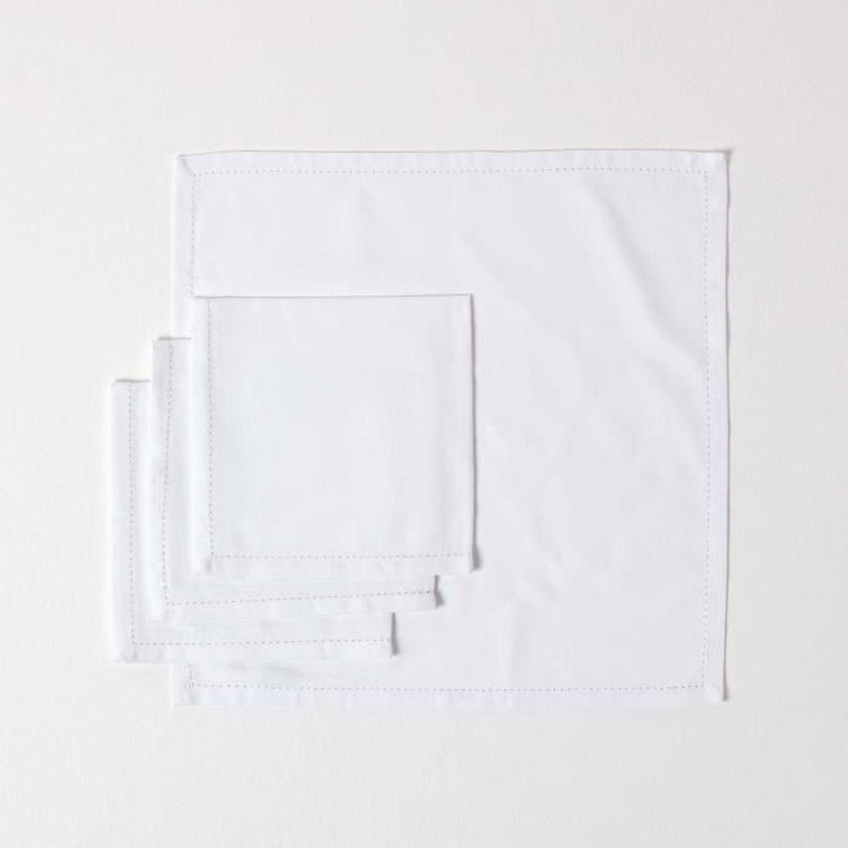 Lot de 50 serviettes en papier imitation tissu Blanc