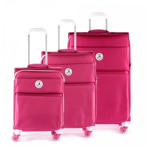SET DE VALISES Set de 3 valises 4 roues Arizona rose et blanc
